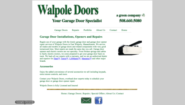 Walpole Doors Custom Website